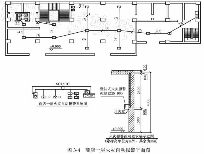 某商店一层火灾自动报警系统工程如图3-4所示.